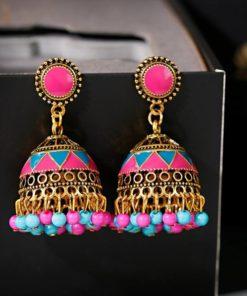Boucle d'Oreille Clochette rose Indienne