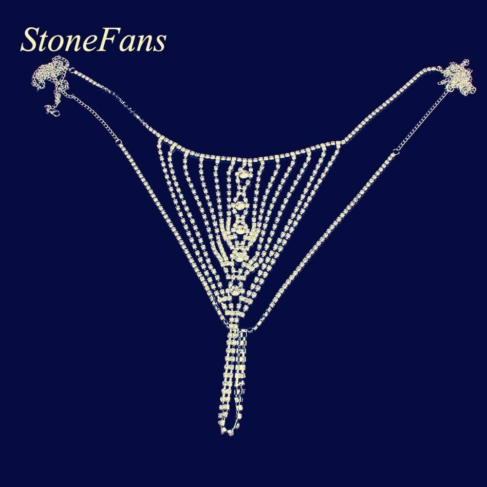 Stonefans strass corps bijoux Sexy yeux forme string culotte transparent cristal corps chaîne sous-vêtements femmes Sexy accessoires
