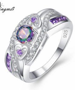 Bague diamant zircon multicolore