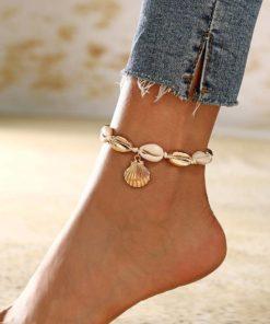 Bracelet chaîne pied cheville coquillage naturelle
