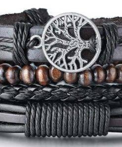 Bracelet pour homme arbre vie cuir