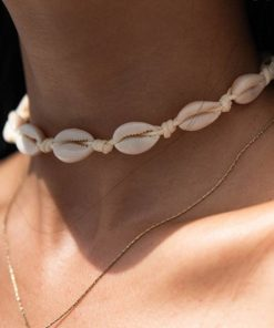 Collier Cauris Couleur Coquillage Nature, Argent ou Or