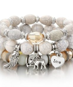 Bracelet Femme 4 Rangs de chaînes Perles et petit éléphant argenté