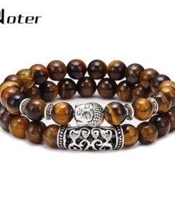 Bracelet Homme Tête Bouddha marron