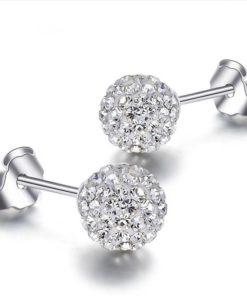 Clous d'oreille argent diamant