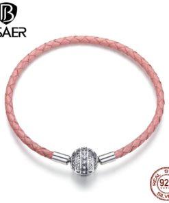 Bracelet Luxe Argent Cordelette Rose