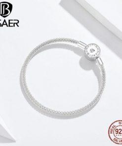 Bracelet Argent Véritable 925 Luxe Femmes Fermoir Rond