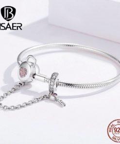 Bracelet Femme Cœur Rose Fermoir Chaînette Clé – Argent Véritable