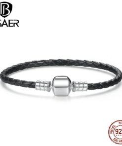 Bracelet Cordelette Cuir Fermoir Argent Véritable 925