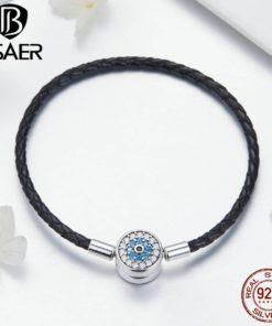Bracelet Tressé Cuir Fermoir Rosace Bleue Diamant Zircon