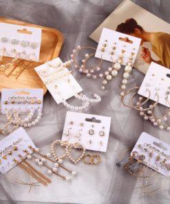 Lot de Boucles d'Oreille Perles Originales