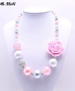 Collier Florale Rose et Perle