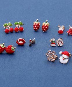 Boucle d'Oreille Forme Fruit Rouge, Noël, et Cadeau