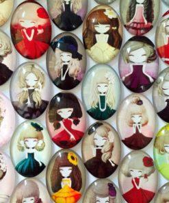 Bijoux Galets de Verre figures Dessin Manga
