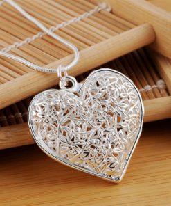Bijou Pendentif Coeur en Argent 925 avec Chaîne