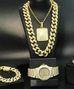 Luxe Hip Hop : Chaîne, Bracelet, Bague Couleur Or ou Argent