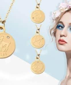 Bijoux médaillon signe astrologique plaqué or 18k