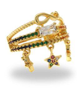 Bague or plaqué14k étoile femme