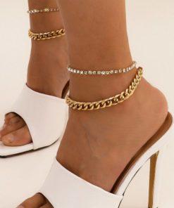 Bracelet Cheville Cristal et Chaine Cubaine Grosse Maille Femmes