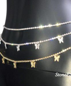 Chaîne Strass Papillon Taille Femmes - Bijoux Corps pas cher