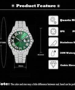 Montre Quartz Hommes Diamant Zircon AAA