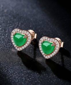 Boucle d'oreille Jade Forme de Cœur