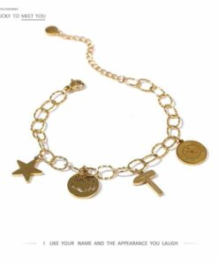 Bracelet Chaine Mailles Breloque étoile