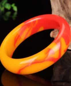 Bracelet Jade Véritable Couleur Naturelle Rouge et Jaune