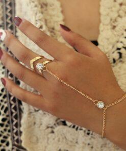 Bracelet Femme Bague Chaine de Main