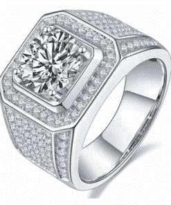 Bague Homme Diamant Moissanite 3 Carats